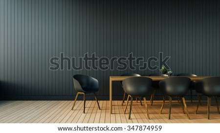 Simple of Working and Dining set Modern / 3D rendering - stock photo