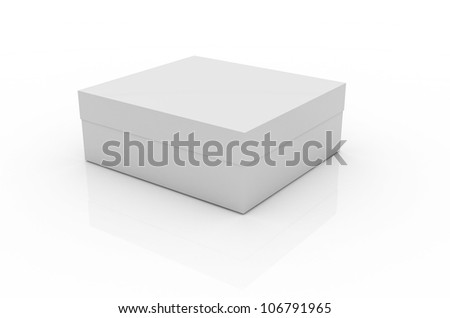 Simple open box on white