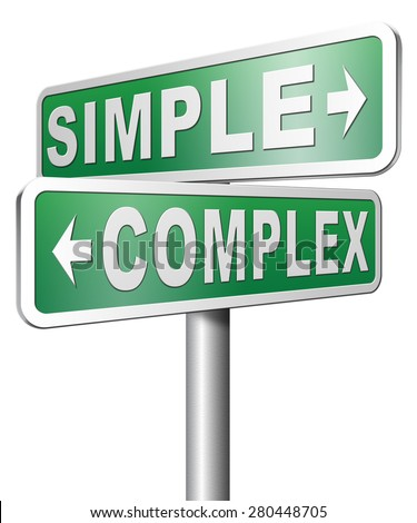 simple or complex easy versus complicated or difficult road sign arrow - stock photo