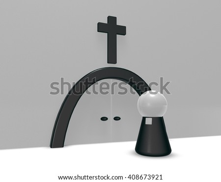 simple pastor figure and christian cross symbol - 3d illustration - stock photo