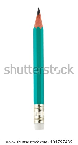 Simple pencil on white background - stock photo