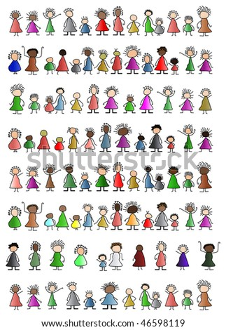 simple people children childlike unity - stock photo