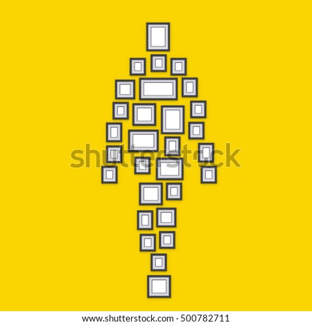 Simple photo frames on wall. Placed in form of silhouette human. Idea for interior design and decor. 3d render.