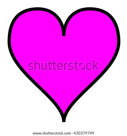Simple pink heart, isolated over a white background. - stock photo