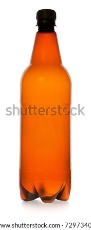 simple plastic bottle on a white background - stock photo