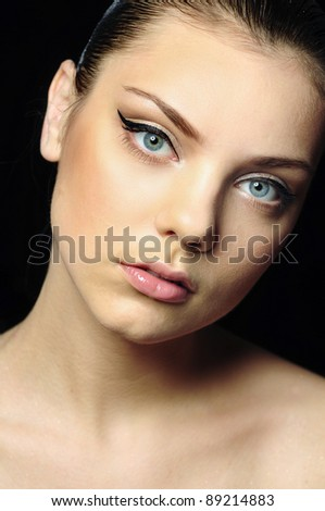 Simple portrait of girl with vivid makeup