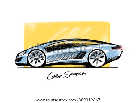 Simple Quick Sketch Of A Car Design Concept. Hand Drawing Original Design.  Side View