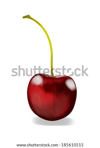 Simple, realistic red cherry illustration, front view on a white background