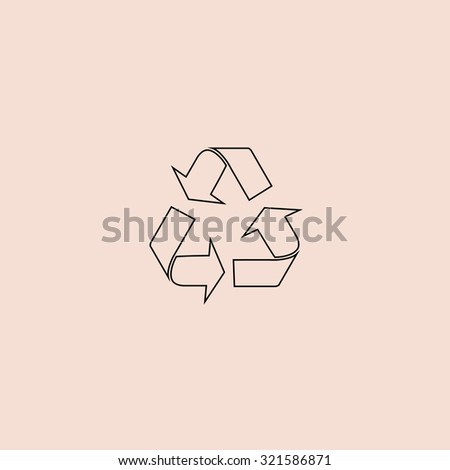 Simple Recycling. Outline icon. Simple flat pictogram on pink background