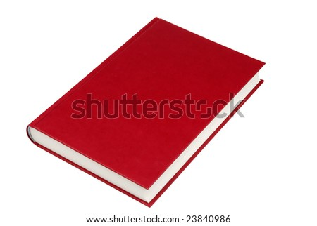 simple red hardcover book isolated on white background - stock photo