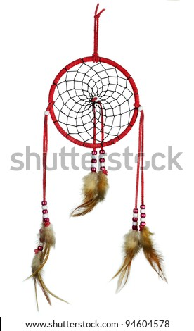 Simple, red, native american dreamcatcher isolated on white - stock photo