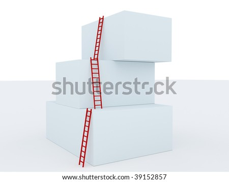 simple red stairs pointing up