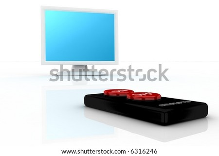 simple remote pointing in a white tv - stock photo
