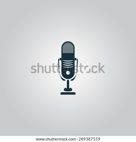Simple retro microphone. Flat web icon or sign isolated on grey background. Collection modern trend concept design style illustration symbol - stock photo