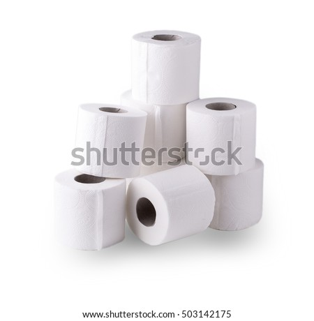 simple roll of toilet papers on a white background