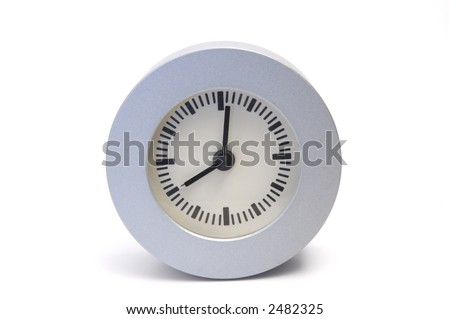 Simple round alarm clock isolated on white