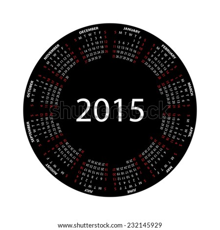 Simple round calendar for 2015 year on white background. - stock photo
