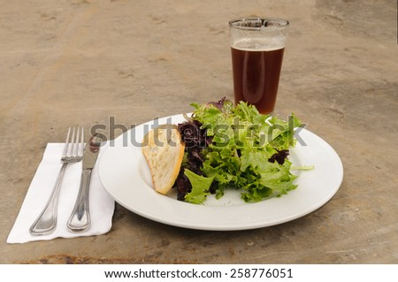 Simple Salad and beer appetizer - stock photo