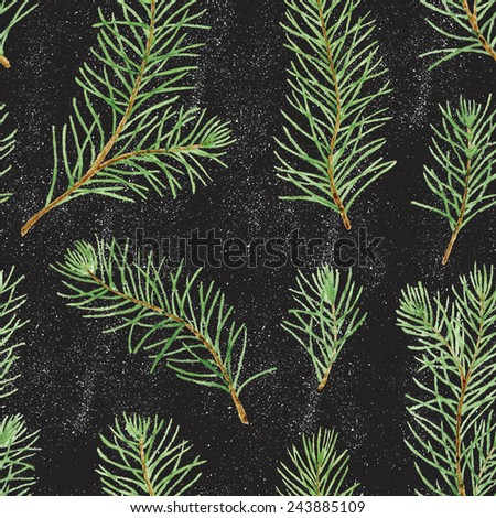 Simple seamless pattern. Green pine branches and leaves on black background.  Real watercolor drawing. - stock photo