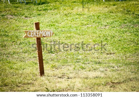 simple sign with the word ceremony written on it - stock photo