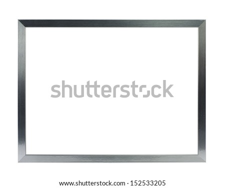 simple silver metal frame on the white background - stock photo