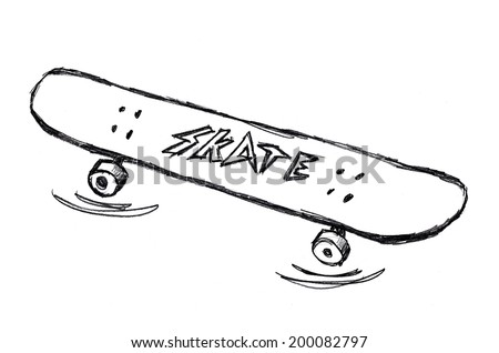 Simple Skateboard Doodle Drawing On White Background
