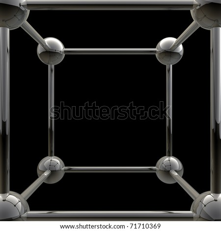 simple steel molecular structure background 3D
