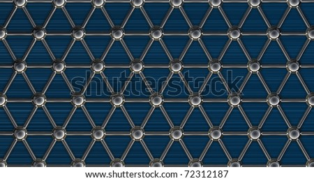 simple steel molecular structure on blue background 3D
