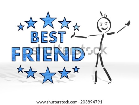 simple stick man presents a best friend symbol white background - stock photo