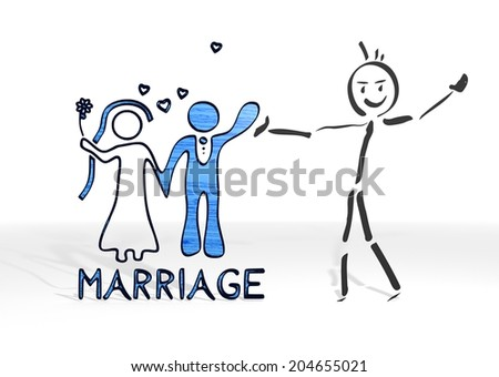 simple stick man presents a marriage sign white background - stock photo