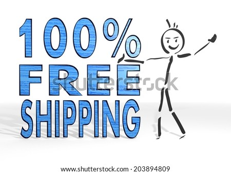 simple stick man presents a 100 percent freeshipping sign white background - stock photo