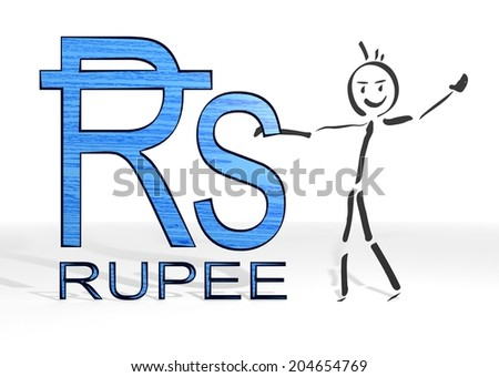 simple stick man presents a Rupee symbol white background - stock photo