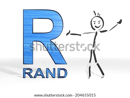 simple stick man presents a South Africa Rand sign white background - stock photo
