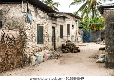 simple street in african village, Zanzibar, Africa
