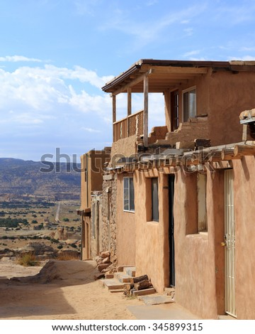 Simple structures of the Acoma Pueblo in New Mexico. - stock photo