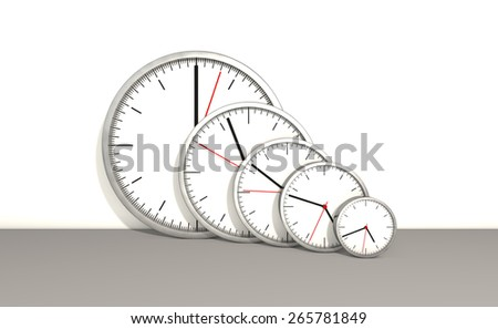 Simple swiss clock going from the smallest to the biggest on  white background - stock photo