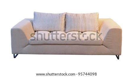 Simple textile sofa isolated with clipping path included