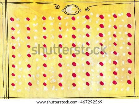 simple texture background paint on canvas yellow white black frame red and white dots A