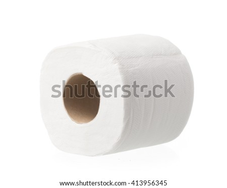 Simple toilet paper isolated on white background - stock photo