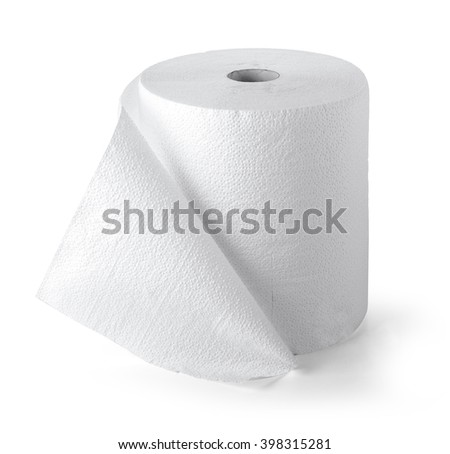 Simple toilet paper on white background with clipping path - stock photo