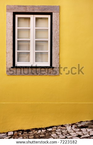 Simple view of a window in Lisbon, Sintra - stock photo