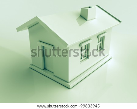 Simple white house on a light background with reflections