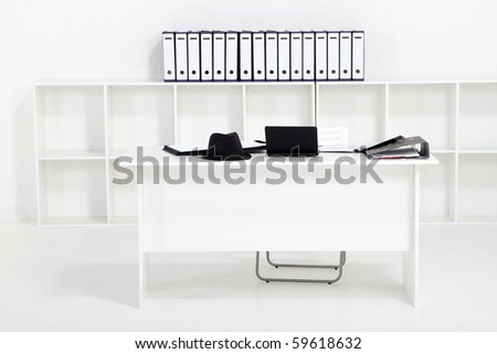 simple white office - stock photo