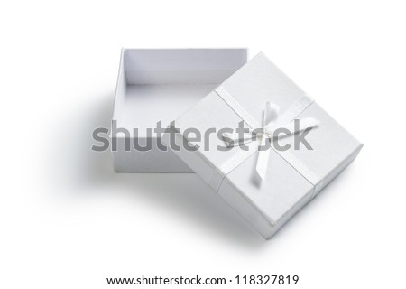 simple white open gift box isolated on white - stock photo