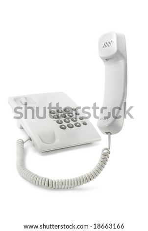 Simple white phone with the lifted tube isolated