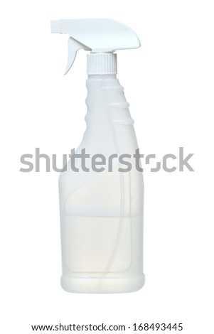 Simple white plastic hand spray bottle as used for household cleaning products, garden sprays etc. Add your own label. Isolated on white  - stock photo