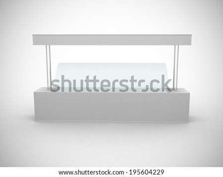 Simple white promotion counter for ice cream. 3D rendered image - stock photo