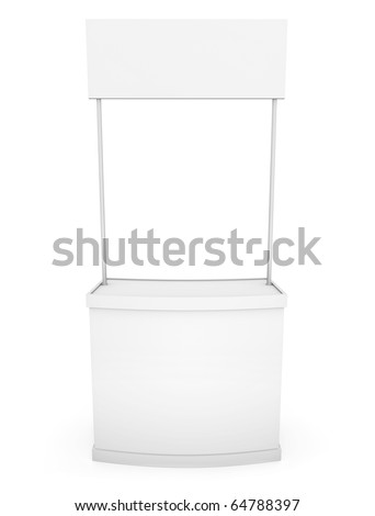 Simple white promotion counter; front view. 3D rendered image - stock photo