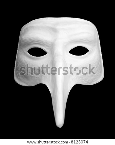 Simple white venetian mask. Isolated on black