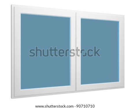simple window isolated over white - stock photo